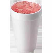 Pink lemonade in J cup foam cup