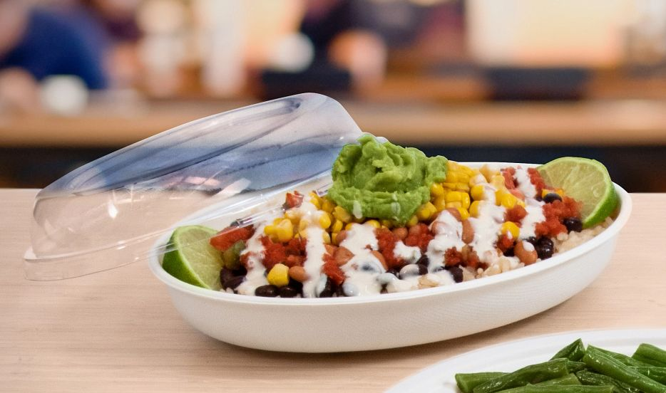 Sugarcane burrito bowl container with PET Lid